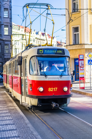 PRAGUE, CZECH REPUBLIC - FEBRUARY 15: Old tram rides down the street at February 15, 2019 in Prague, Czech Republic