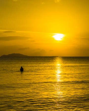 Amazing sunset view on South China sea from Sanya bay at Sanya, Hainan, China