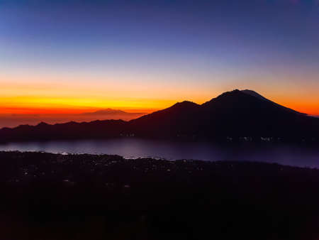 Amazing panorama view on sunrise and mountain from summit of Batur volcano, Bali, Indonesia Stok Fotoğraf