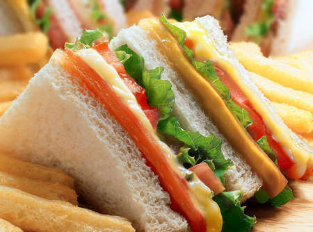 ham sandwich: Club sandwich - close up