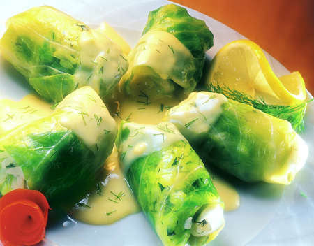 wedge: Dolmades with sauce Stock Photo