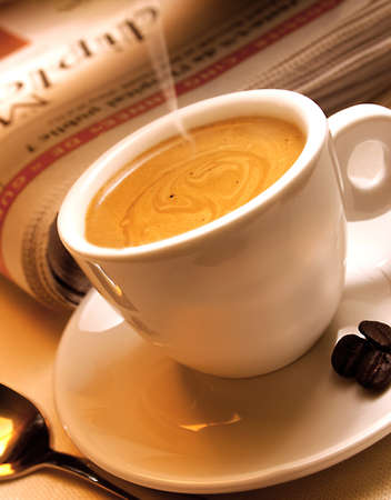 evening newspaper: Fresh coffee served in the evening Stock Photo