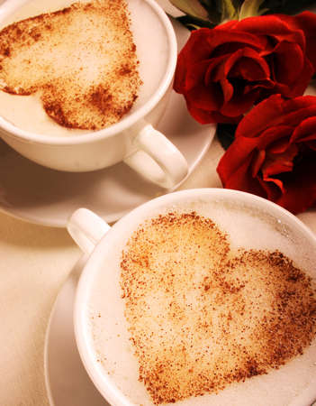 cover background time: Lovers cups Stock Photo
