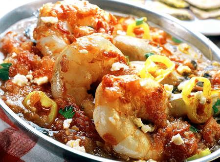 Shrimps saganaki with tomato sauce