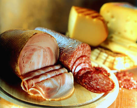 cold cuts: Variety of cheeses  and cold cuts
