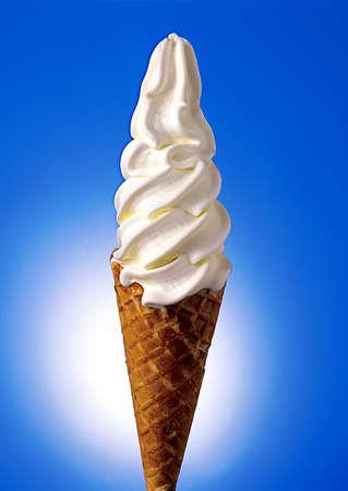 Vanilla flavour ice cream cone