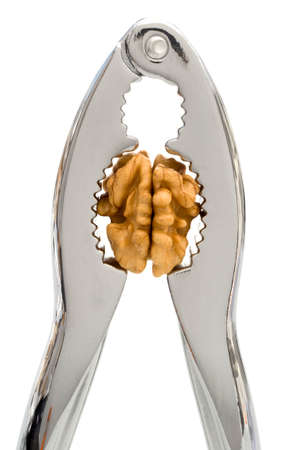 HEADACHE 2 - A nutcracker pressing the kernel of a walnut, instead of the walnut.