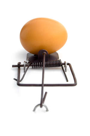 LOSE-LOSE SITUATION -  A mouse-trap using an egg as a bait. Attempting to get the egg will result in broken egg. Not attempting at all, will result in no egg at all. Lose-lose situation.