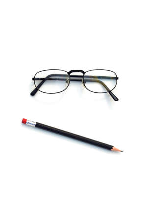 SKEPTICAL CONFUSED - A pessimistic face made with a pair of glasses and a pencil.
