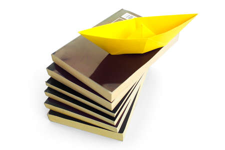 WITH A BOOK YOU CAN TRAVEL 2 - An origami boat shipping through the books.