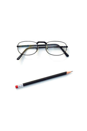 pessimistic: SKEPTICAL CONFUSED 2 - A pessimistic face made with a pair of glasses and a pencil.