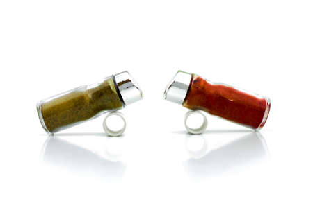 THE RIVALS 2 -  Red and black pepper shakers confronting each other.