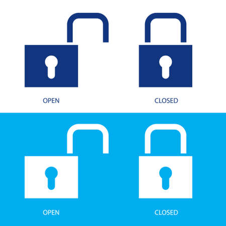 Illustration of padlocks in open and closed positions Stock Vector - 6856399
