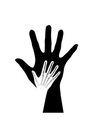 Stylized hands anatomy. Black and white illustration Vector