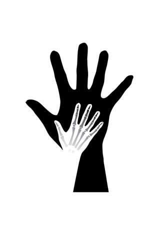 Stylized hands anatomy. Black and white illustration