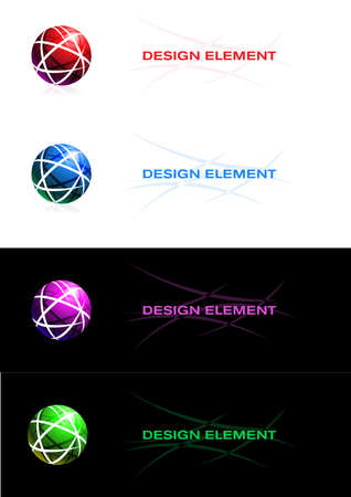 Abstract design element. Sphere. On white and black background. Vector