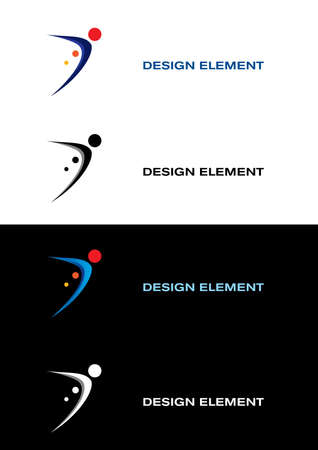 figure logo: Logo sport templates. Black and white backgrounds Illustration