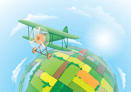 illustration of biplane flying over the fields Stock Vector - 6998980