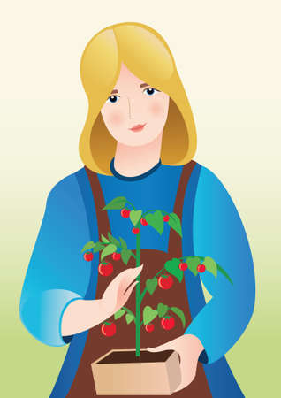 Illustration of girl with tomatoes Vector
