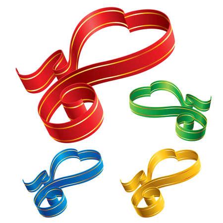 Color ribbon hearts Stock Vector - 7060162