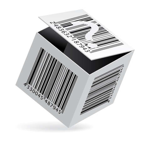 Illustration of bar code on open white box illustration