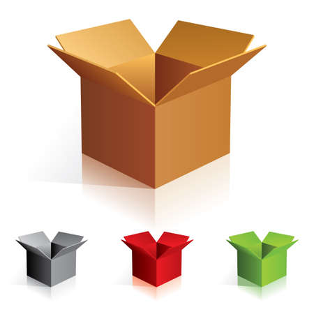 Illustraion of open color cardboard boxes. For design. Stock Photo - 7084776