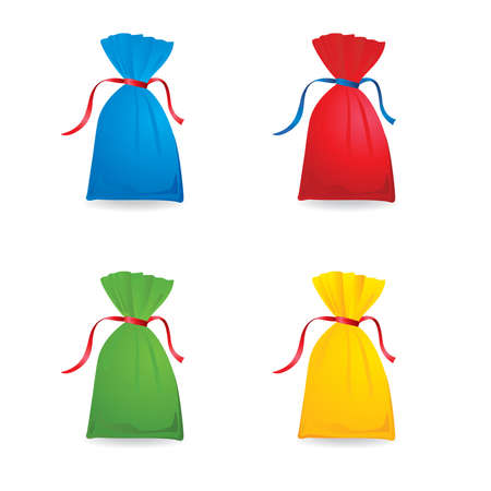 Illustration of Set christmas or birthday colour sacks. illustration