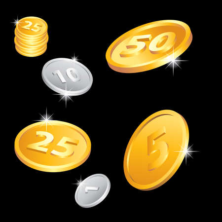 Illustration of the golden and silver coins Stock Illustration - 7084779