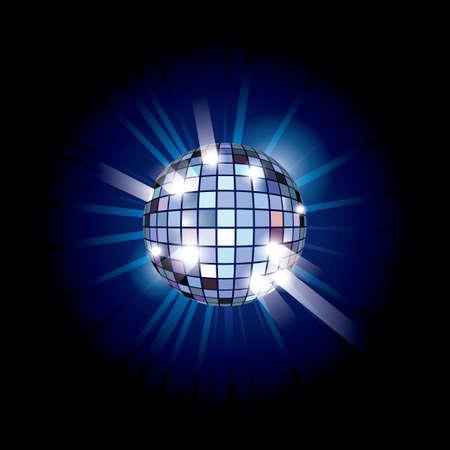 Blue disco ball. illustration on black background illustration