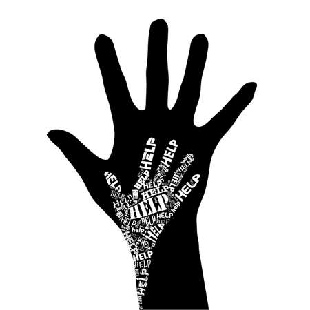 people in church: Conceptual black and white illustration - Hand of Help.
