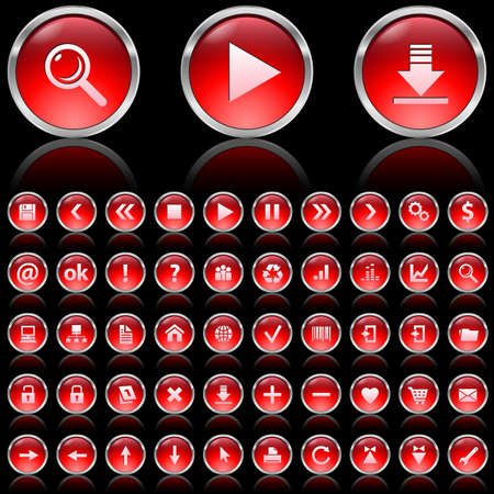 Set of red glossy icons on black background Stock Photo - 7140033