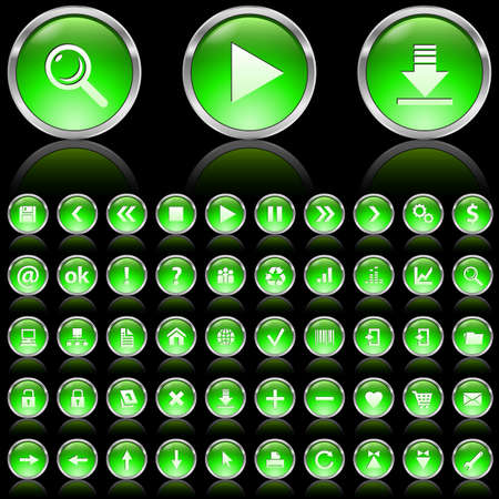 Set of green glossy icons on black background Stock Photo - 7140034