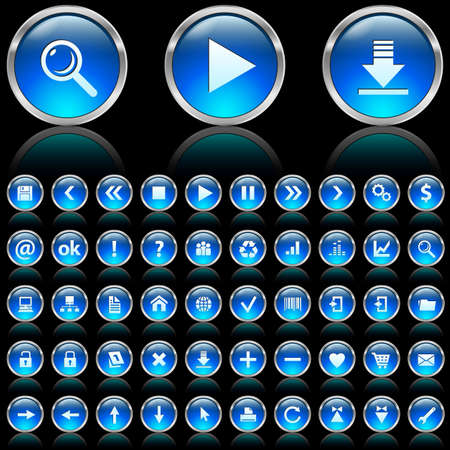 Set of blue glossy icons on black background  Stock Photo - 7140038