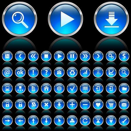 Set of blue glossy icons on black background  Stock Photo - 7140038