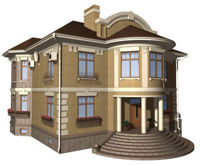 Family house 3d illustration isolated on white background Stock Illustration - 7273601