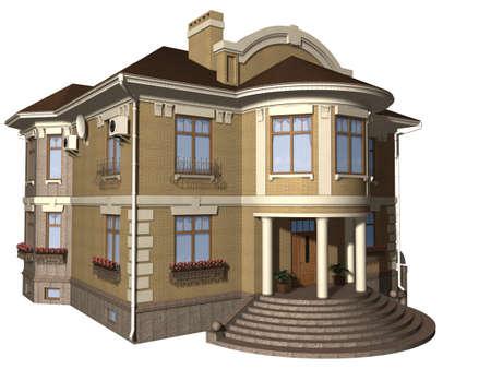 Family house 3d illustration isolated on white background