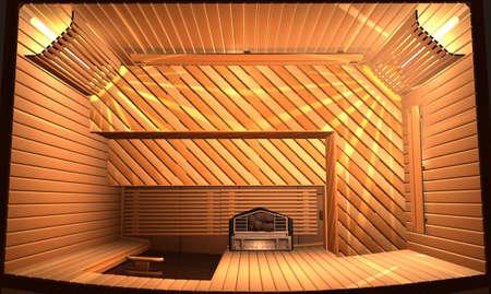 perspire: Wooden steam room in sauna. 3D illustration. Top view