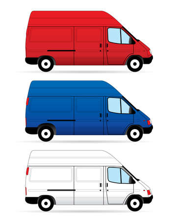 mini bus: Isolated Delivery Vans on white background