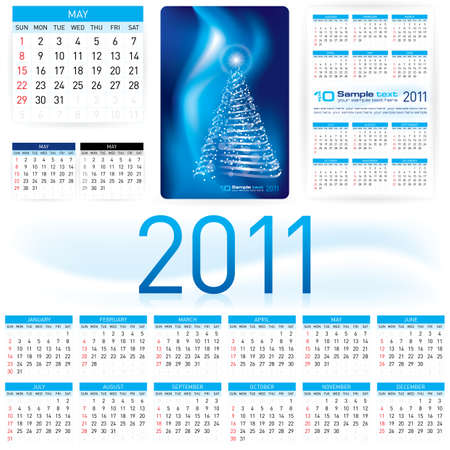 illustration. Informal Style 2011 Calendar Template. Vector