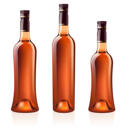 cognac: Realistic bottles of cognac (brandy). Isolated on white background