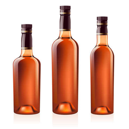 Realistic bottles of cognac (brandy). Isolated on white background