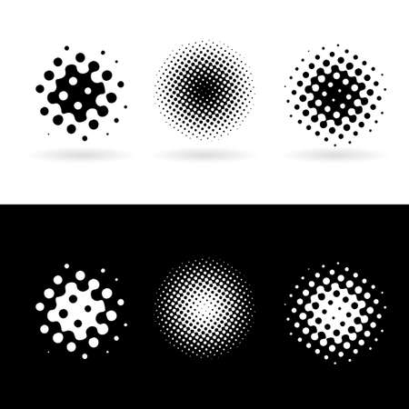 Background with black and white round spots. Illustration Vector