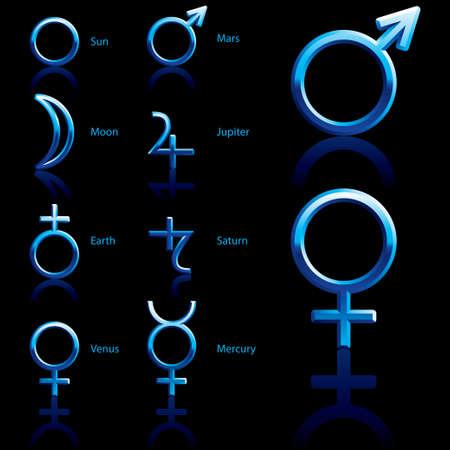 signes du zodiaque: Symboles du zodiaque et astrologie des planètes Illustration