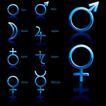 Zodiac and astrology symbols of the planets  Vector
