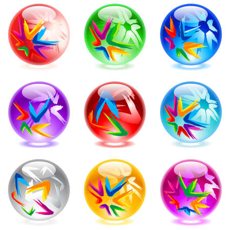 black star: Collection of colorful glossy spheres isolated on white.  Illustration