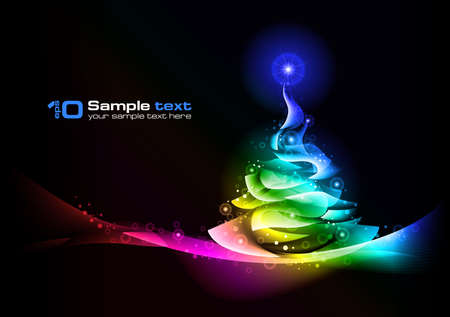 Abstract glowing background. Christmas tree. Vector