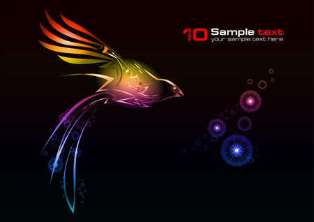 Abstract glowing background. Bird. For your design.