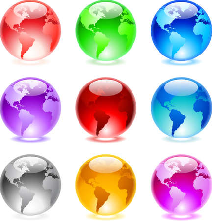 illustration of glass glossy colorful globes. Vector