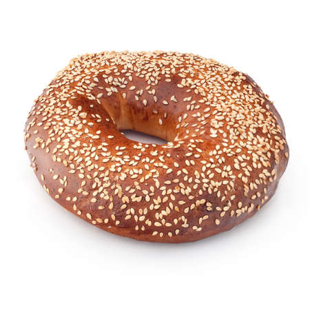 Bagel, isolated on white, with sesame seeds. photo