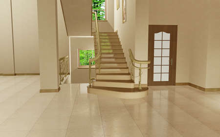 Staircase to the second floor in the empty inter Stock Photo - 7747584